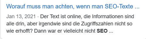 Negativbeispiel SEO-Text: für eine Google Vorschau. So sollte der Beitrag nicht geplant werden.